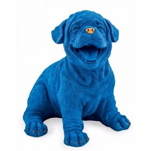 Blue Laughing Puppy With Gold Detail