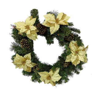 Gold 60cm Christmas Wreath with cones