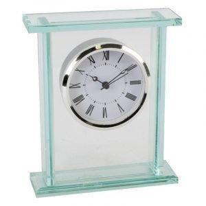 Widdop Glass Silver Bezel Mantel Clock