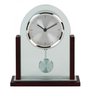 Widdop Arched Glass and Wood Mantle Clock