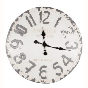 Antique White and Grey Round Wall Clock