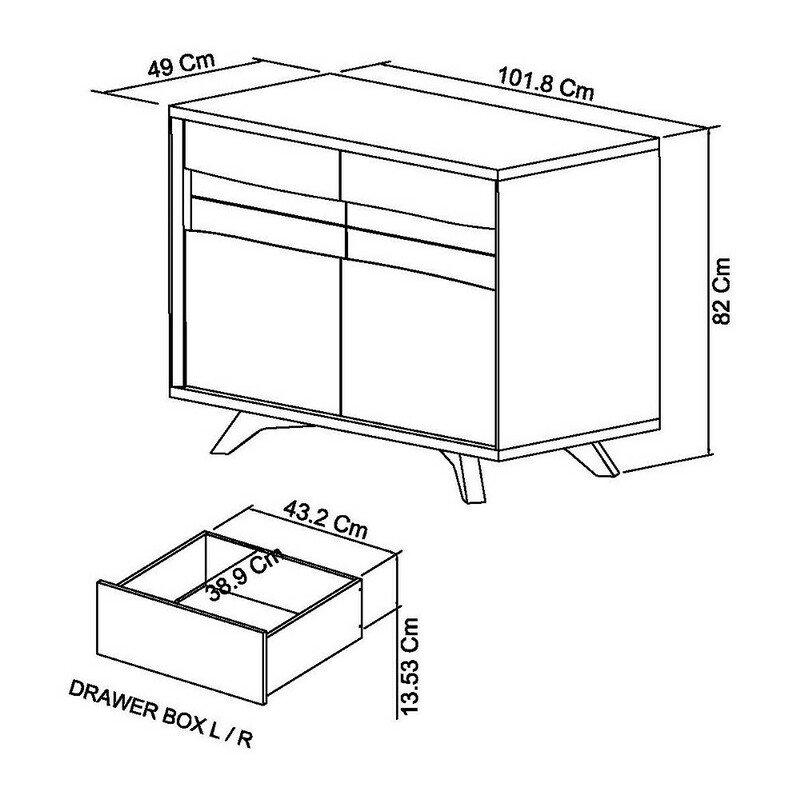 Cadell Aged Oak Narrow Sideboard dimensions