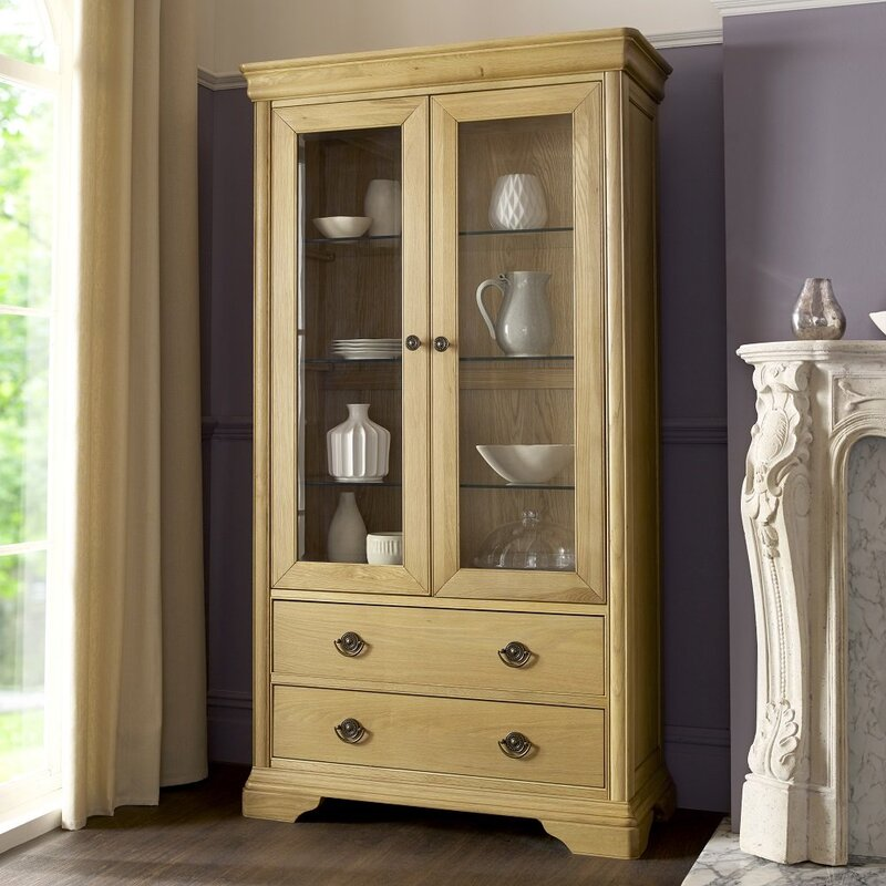 Chantilly Glass Fronted Oak Display Unit with 2 drawers