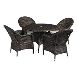 Outdoor Dining Table and 4 Armchairs  (Brown)