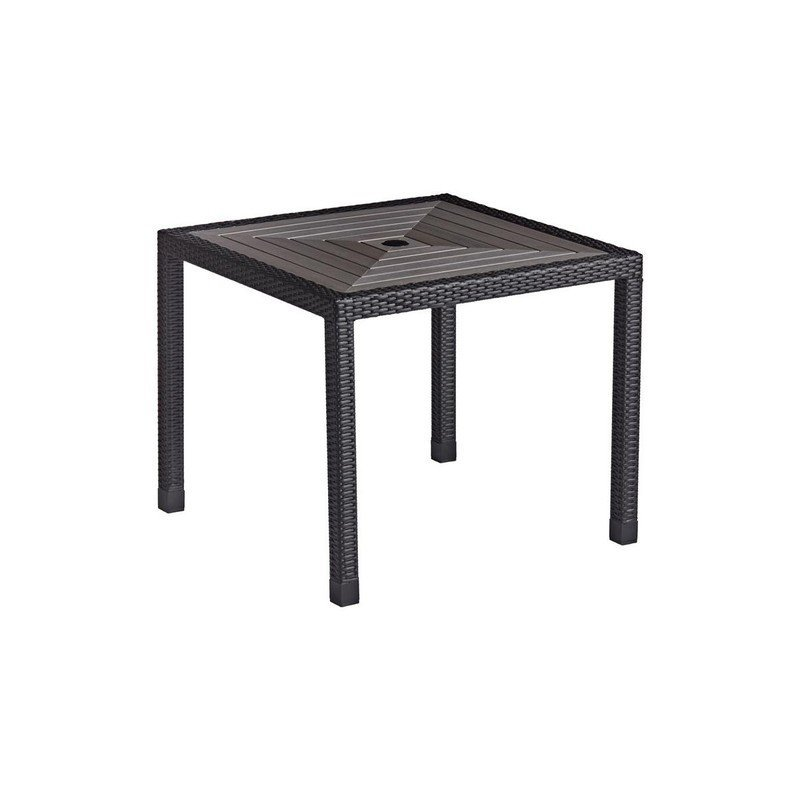 Dining Table 90cm Square Black Weave with Grey Top