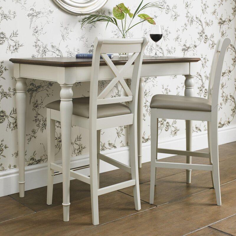 Hampstead Soft Grey & Walnut Bar Table
