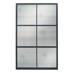 Matt Black Metal 6 Pane Mirror with Foxed Glass