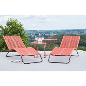 Red Rio Set of 2 Sun Loungers