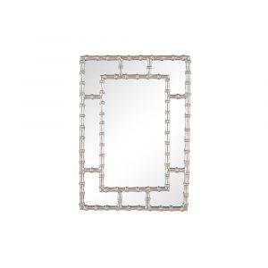 Silver Metal Bamboo Effect Rectangular Wall Mirror