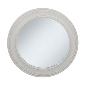 Washed Grey Wooden Round Wall Mirror Small