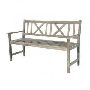 Antique Grey 3 Seater Acacia Wood Bench