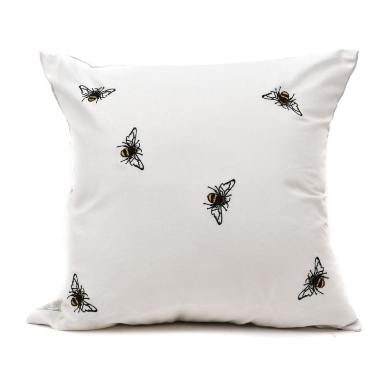 Linen effect cushion with embroidered bees