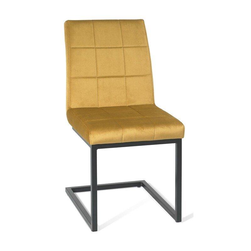 Cantilever Chair Mustard Velvet Fabric