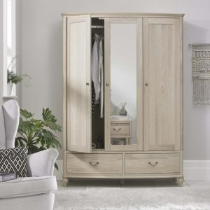 Bordeaux Chalk Oak Triple Wardrobe