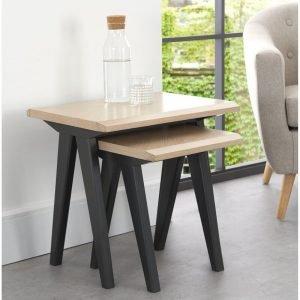 Brunel Chalk Oak and Gunmetal Nest Of Tables