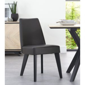 Upholstered Dining Chair – Grey Bonded Leather (Pair)