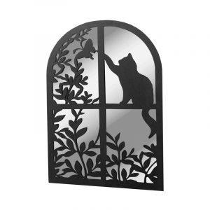 Black Metal Cat In Round Top Window Garden Mirror
