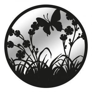 Black Metal Round Flower With Butterfly Garden Mirror