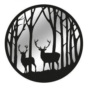 Black Metal Round Forest With Stag Garden Mirror