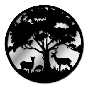 Black Metal Round Tree With Deer Garden Mirror