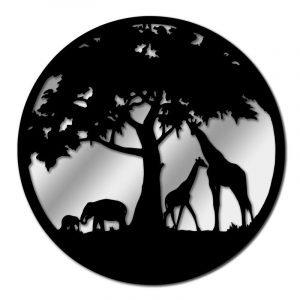 Black Metal Round Tree With Giraffe Garden Mirror
