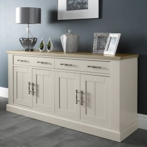 Chartreuse Aged Oak and Antique White 4 Door Sideboard