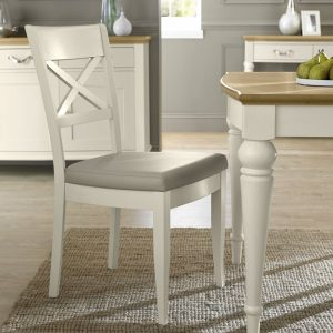 Montreux Antique White X Back Chair – Ivory Bonded Leather (Pair)