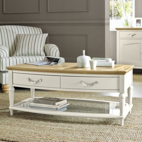 Montreux Antique White Coffee Table With Drawers