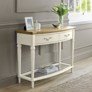Montreux Pale Oak and Antique White Console Table With Drawers