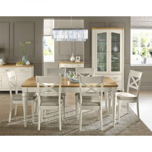 Montreux Pale Oak and Antique White Dining Set – Table and 6 X-Back Chairs
