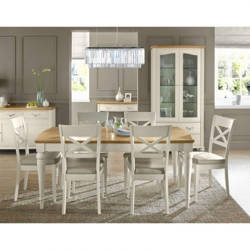 Montreux Pale Oak and Antique White Dining Set - Table and 6 X-Back Chairs