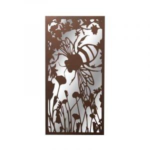 Portrait Rusted Metal Bumblebee Garden Mirror