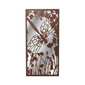 Portrait Rusted Metal Dragonfly Garden Mirror