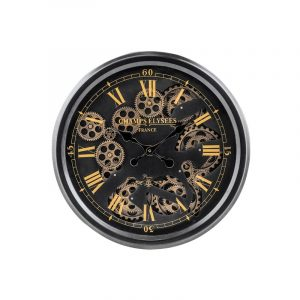 Large Moving Gears Wall Clock with Antiqued Black Frame