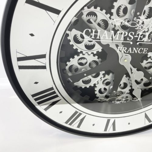 Moving Gears Wall Clock with Black Frame and Mirrored Face