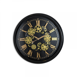 Moving Gears Wall Clock with Antiqued Black Frame